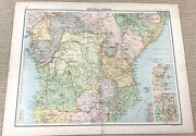 1891 Antique Map Of Central Africa Congo State East African Old 19th Century