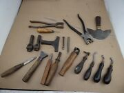 Lot Of 18 Vintage Leatherworker Tools Tracing Wheel Head Knife Unusual Punches