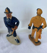 Lot Of 4 Athlete Fireman And Miner And Indian For Standard Gauge Train Or Play