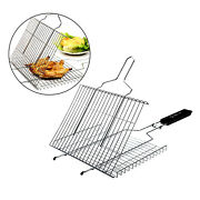 Bbq Barbecue Grill Basket With Handle For Grilling Fish Meat Shrimp Sea Food