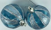 2 Blue And Silver Glitter Ornaments Christmas Tree Holiday Decor 2 3/8 Diameter