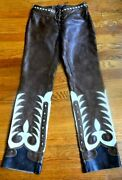 Blue Label Collection Embroidered Brown Leather Western Pants Us 2