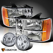 For 2007-2013 Gmc Sierra 1500 Crystal Clear Headlights+fog Driving Lamps+switch