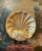 Italian Baroque Style Large Hand Carved Giltwood Decorative Wall Hanging Shell