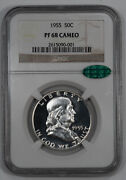 1955 Proof Franklin Half Dollar 50c Ngc And Cac Certified Pf 68 - Cameo 001