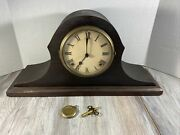 William Gilbert Vintage Wooden Mantel Clock W/ Key And Pendulum. For Parts.