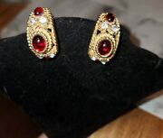 Vintage Etruscan Gripoix Style Ruby Red Runway Cabochon Rope Clip Earrings27