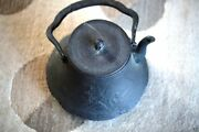 A007 Antique Estate Japanese Iron Teapot 19th/20th Century, Size Is About 17 X20