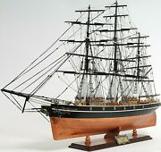 Cutty Sark 34 Inch Large Wooden Ship Model No Sail Display Decor Collectible New