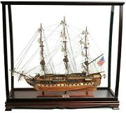 38 Inch Large Uss Constitution Ship Model And Display Case Set Wood Old Ironsides
