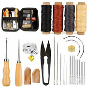 28 Leather Craft Punch Tools Kit Stitching Carving Working Sewing Saddle Groover