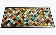 Marble Coffee Table Top Geometric Pattern Inlaid Center Table 30 X 60 Inches
