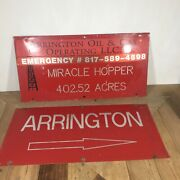 American Oil Company Advertising Signs Arrington Oil And Gas Metal Texas Vintage