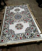 Marble Coffee Table Top Multi Color Gemstones Inlaid Dining Table 30 X 60 Inches