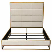 Empire Eastern King Bed In Sand Fabric With Handbrushed Gold Metal Frame By D...