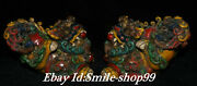 6andrdquo Old Chinese Color Porcelain Town House Foo Fu Dog Guardion Lion Statue Pair