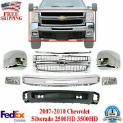 Front Bumper Chrome Steel Kit + Grille And Molding For 07-10 Silverado 2500hd 3500