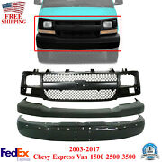 Front Bumper Primed + Upper Cover Textured + Grille For 03-17 Chevy Express Van