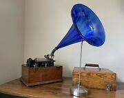 Edison Standard Cylinder Phonograph Model A 4-clip And Glass Horn- Antique 1898