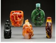 S030 Group Of Five Chinese Carved Hardstone Snuff Bottles