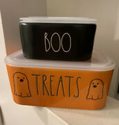 Rae Dunn Halloween 2021 Treats And Boo Ceramic Food Storage Containers New