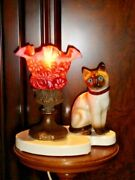 Fenton Lamp Cranberry Opalescent Daisy And Fern Glass Shade Kitty Vintage