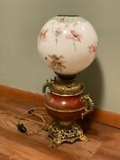 Bandh Radiant Gone With The Wind Lamp Hand Painted Globe Victorian Bradley Hubbard
