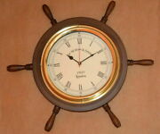 Wooden Vintage 16 Decorative Nautical Wall Clock Ship's Wheel Style Collectible