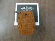 Rare Advertising Jack Daniels Old No 7 Brand Wooden Barrel Keychain Ring And Box