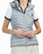 G/fore Womenand039s Down Puffer Vest W/removable Hood In Pewtergray Sz. L. Nwt 295