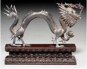 A056 Chinese Export Silver Dragon On Carved Wood Base Late 19th Century.