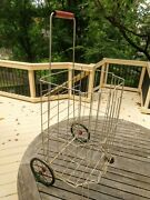 Vtg French Country Wire Metal Basket Pullcart Laundry Collapsible Decor Storage