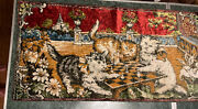 Vintage Cats Playing Chess Tapestry Velvet Wall Hanging Rug Made Italy 38x19andrdquo