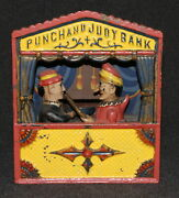 Bank Antique Cast Iron Mechanical 1884 Shepard Punch And Judy Large Letters