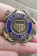 Wwii Sterling Silver And Auxiliary Us Coast Guard Large Hat Badge