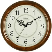 Antique Vintage Maritime Brass 12 Wall Clock Wooden Round Watch Collectible