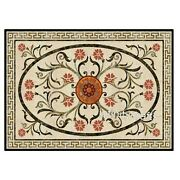 Marble Coffee Table Top Floral Design Inlaid Patio Table For Lawn 30 X 48 Inches