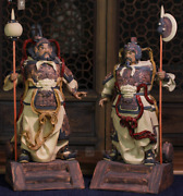 23 Chinese Wucai Porcelain Ancient Bixie Door-god Warrior Soldier People Pair