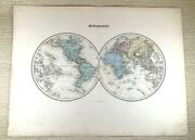 1903 Antique Map Of The World French 19th Century Globe Hand Coloured Engraving