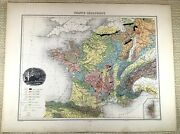 1903 Antique Map Of France Physical Geological Old French 19th Century Migeon