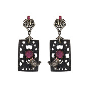 Victorian Jewellery, Ruby Glass Filled, Black Onyx And Diamond Carving Earrings