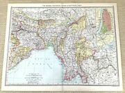 1910 Antique Map Of The Bengal Provinces India Burma Southern Tibet China Old