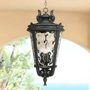 Traditional Outdoor Light Hanging Black Scroll 30 Damp Rated For Porch Patio