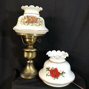 """14"""" Vntg Gone With The Wind Hurricane Lamp W/2 Interchangeable Scalloped Shades"""