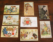 Lot Of 8 Antique Holiday Greetings Christmas Patriotic Automobile Postcards