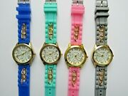 Lot Of 4 Geneva Silicone Band Watches