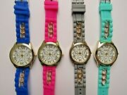 Lot Of 4 Assorted Geneva Silicone Band Watches