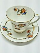 Aynsley Bone China Cup And Saucer Blue / Gold Flowers Beautiful Gold Trim 31