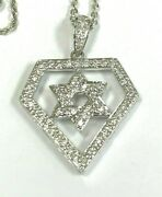 14k White Gold 0.60ct Diamond Star Of David Pendant Necklace 18 Solid Rolo Link
