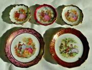 Vintage Limoges France Miniature Plates Lot Of 5 Courting Couples